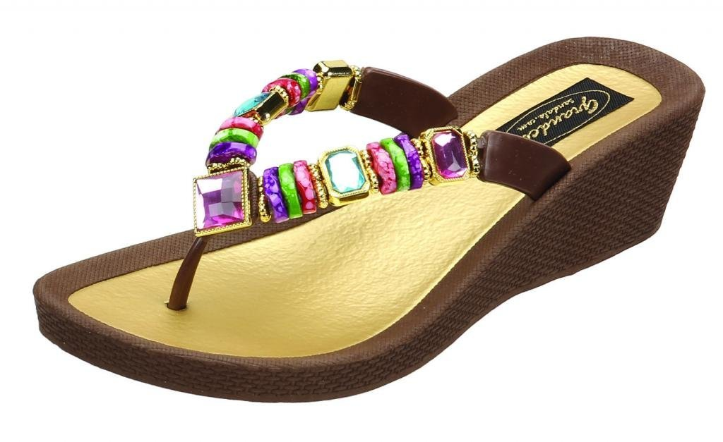 b237afcd2 Details about Grandco Women S Rainbow Wedge Thong Sandal
