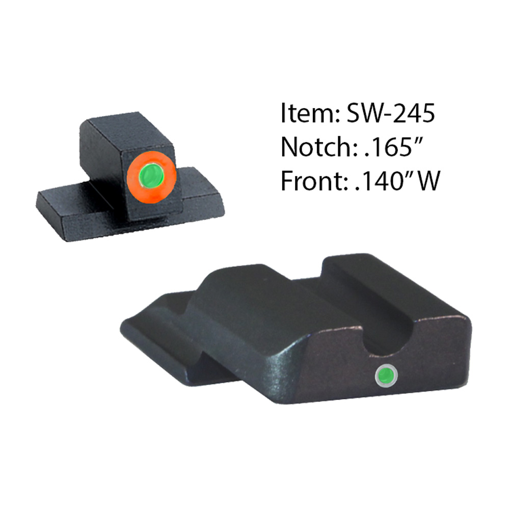 AMERIGLO S&W Tritium I-Dot Green Orange Outline Front and Green Rear Sights (SW-245)