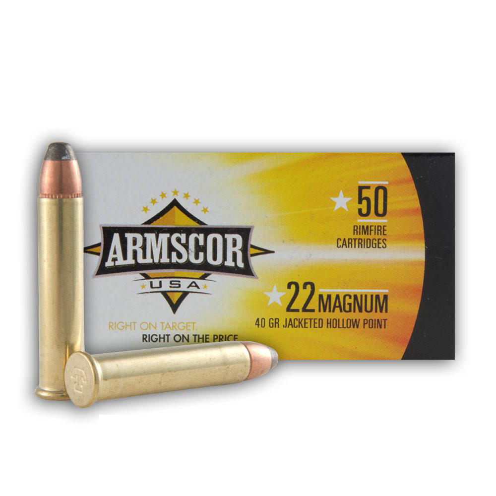 ARMSCOR Jacketed Hollow Point 40 Grain 22 Win. Mag Ammo, 50 Round Box (FAC22M-1N) thumbnail
