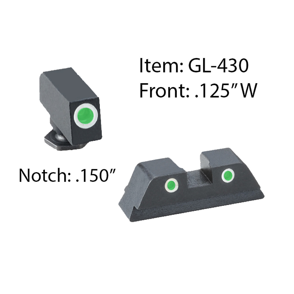 AMERIGLO For Glock Classic Style 3 Dot Green Tritium White Outline Front and Rear Sights (GL-430)