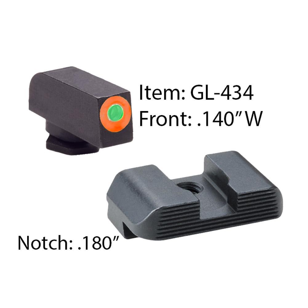 AMERIGLO For Glock Hackathorn Green Tritium Orange Outline Front and Black Rear Sights (GL-434)