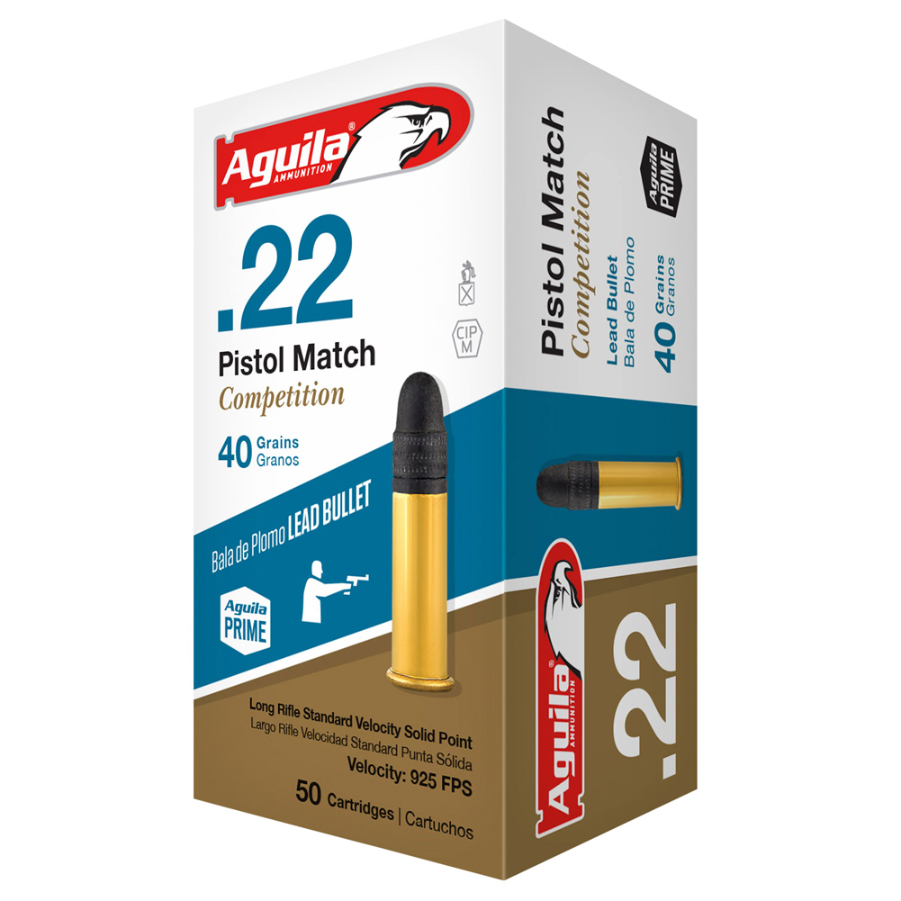AGUILA .22 Pistol Match Competition 40gr Lead 50rd Box Ammunition (1B222516) thumbnail