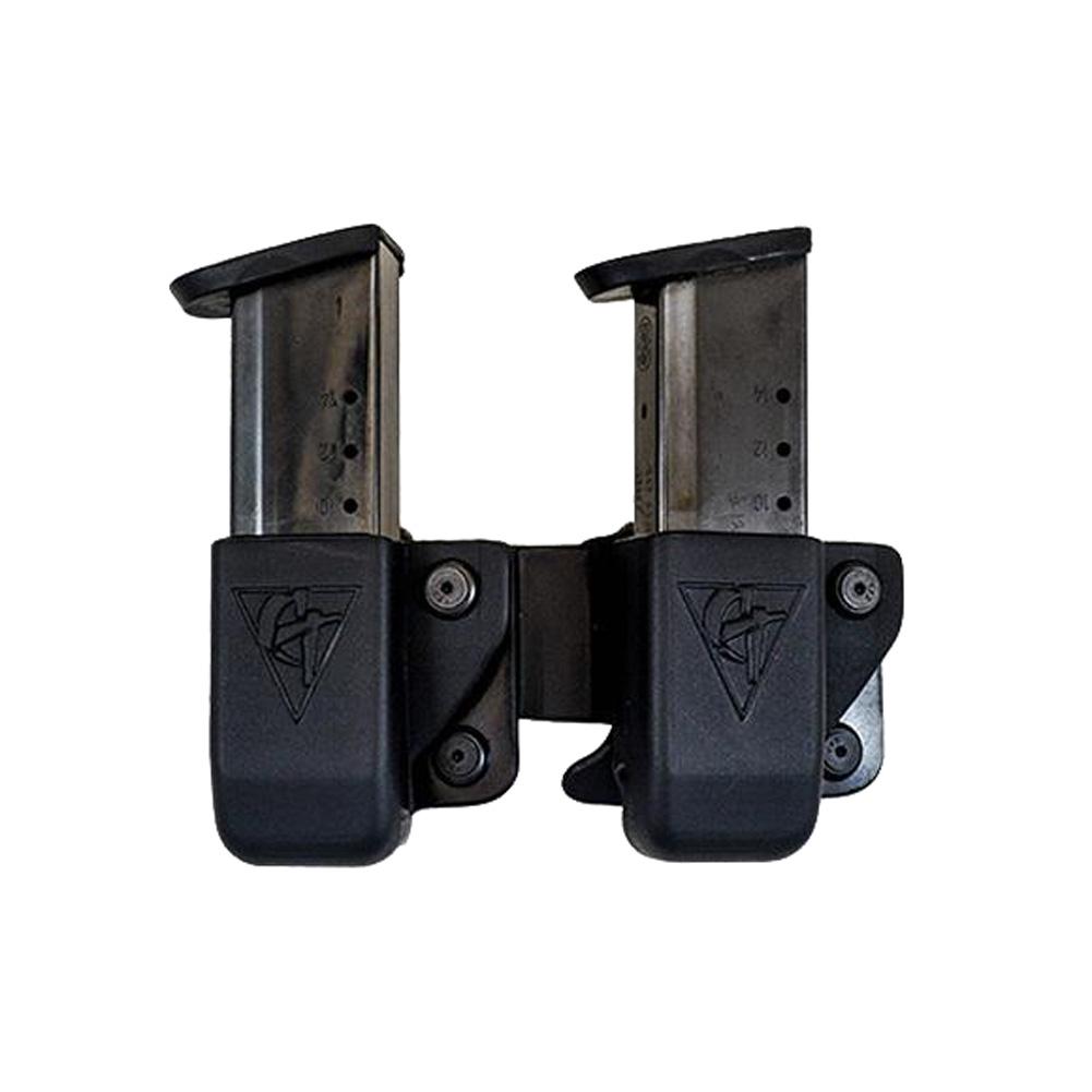 COMP-TAC Twin OWB Belt Clip Size1 1911 Single Stack/Kahr/ Springfield XD S Magazine Pouch (C62301000LBKN)