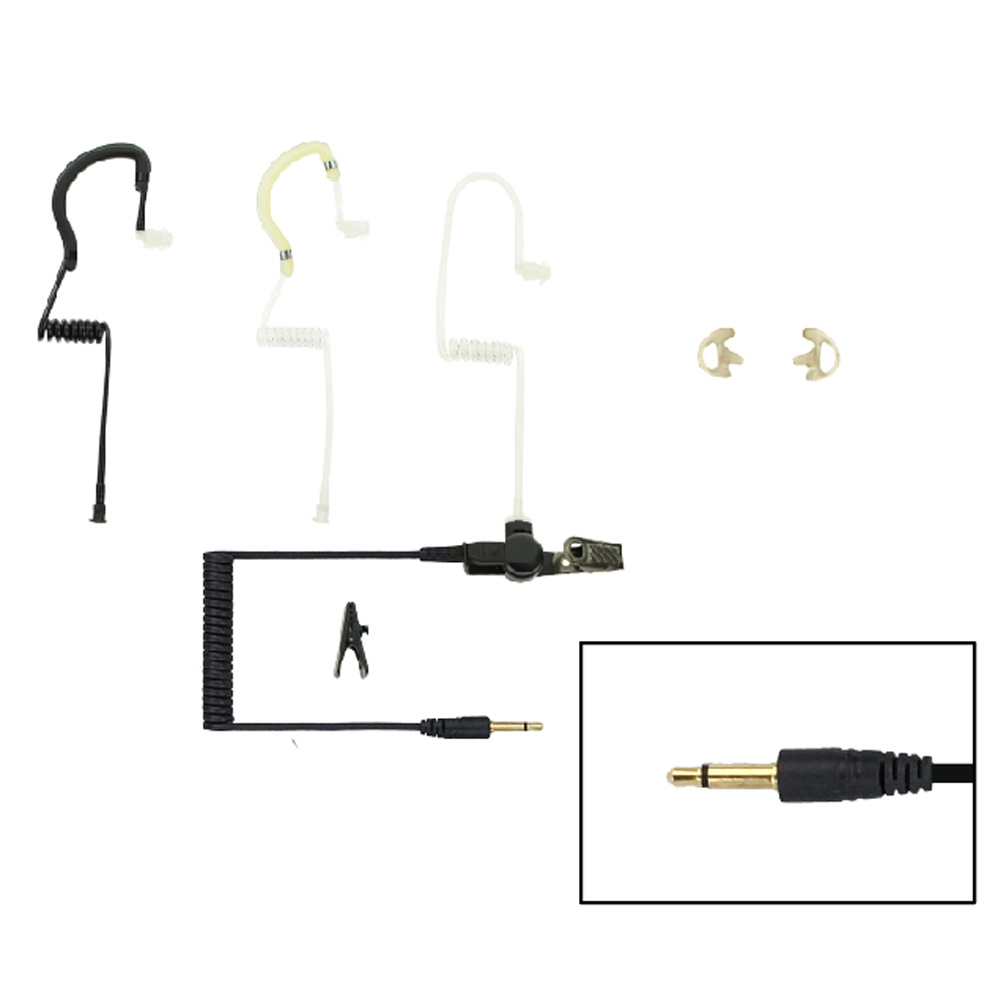 EAR HUGGER SAFETY Eartube Listen-Only Earpiece with 3.5mm Straight Plug and Short Cable (EH-EPT-1002)