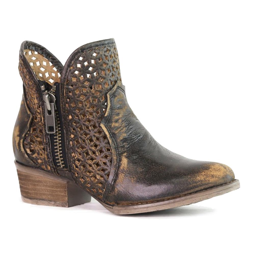 CORRAL Womens Black/Yellow Cutout Shortie Boots (Q5021-LD)