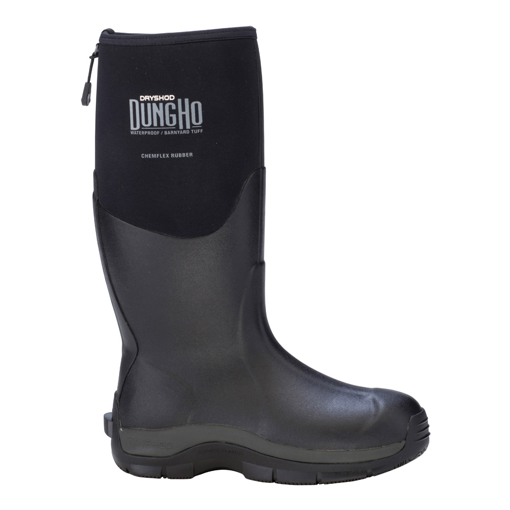 DRYSHOD Mens Dungho Hi Barnyard Tough Black/Grey Boot (DNG-MH-BK)