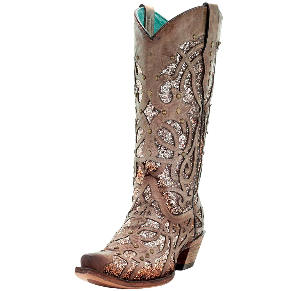 CORRAL Womens Orix Glitter Inlay and Studs Boots (C3331-LD)
