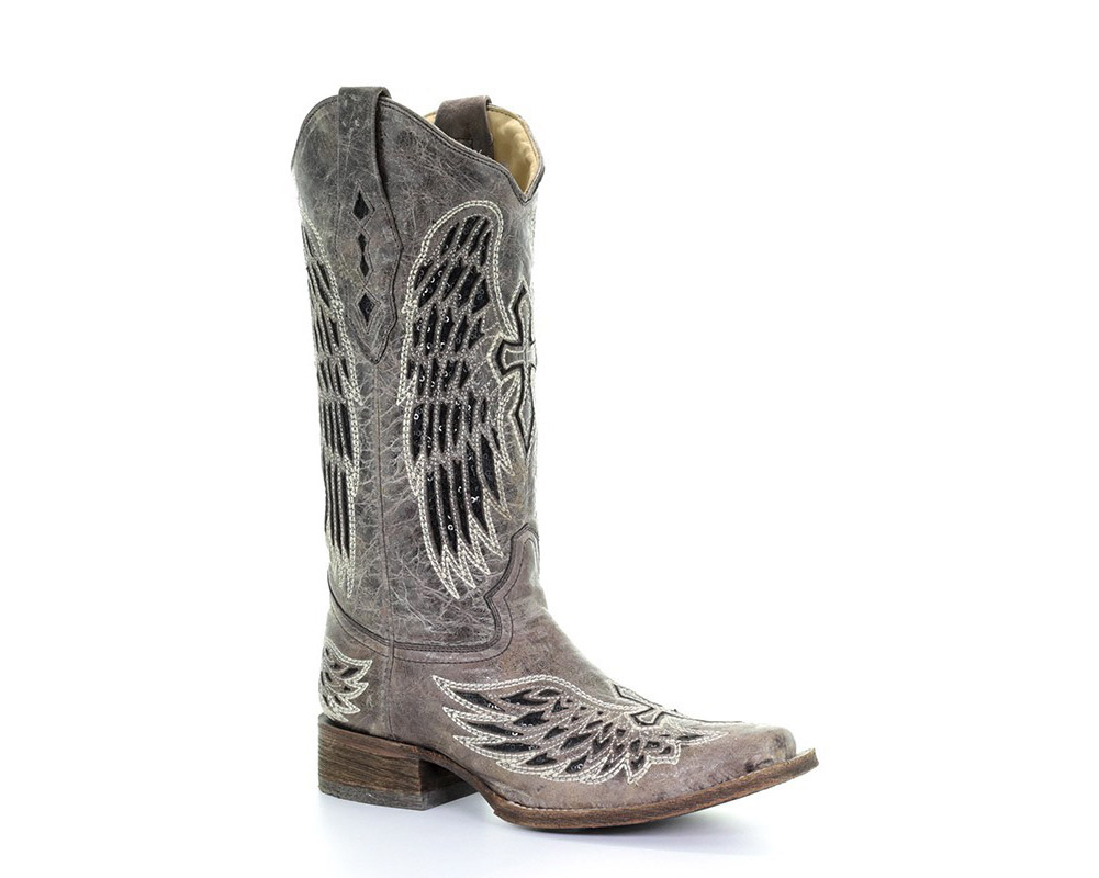 CORRAL Womens Brown Black Wing and Cross Square Toe Boot (A1197-LD)