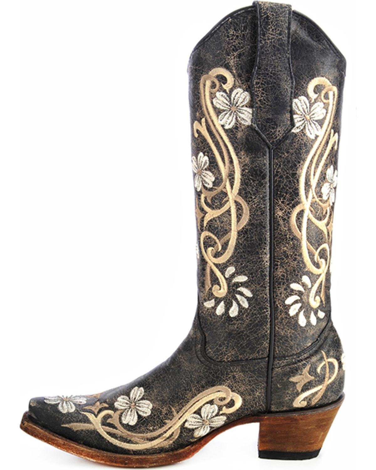 CORRAL Womens L5175 Black/Multi Color Floral Embroidery Boots (L5175-LD)