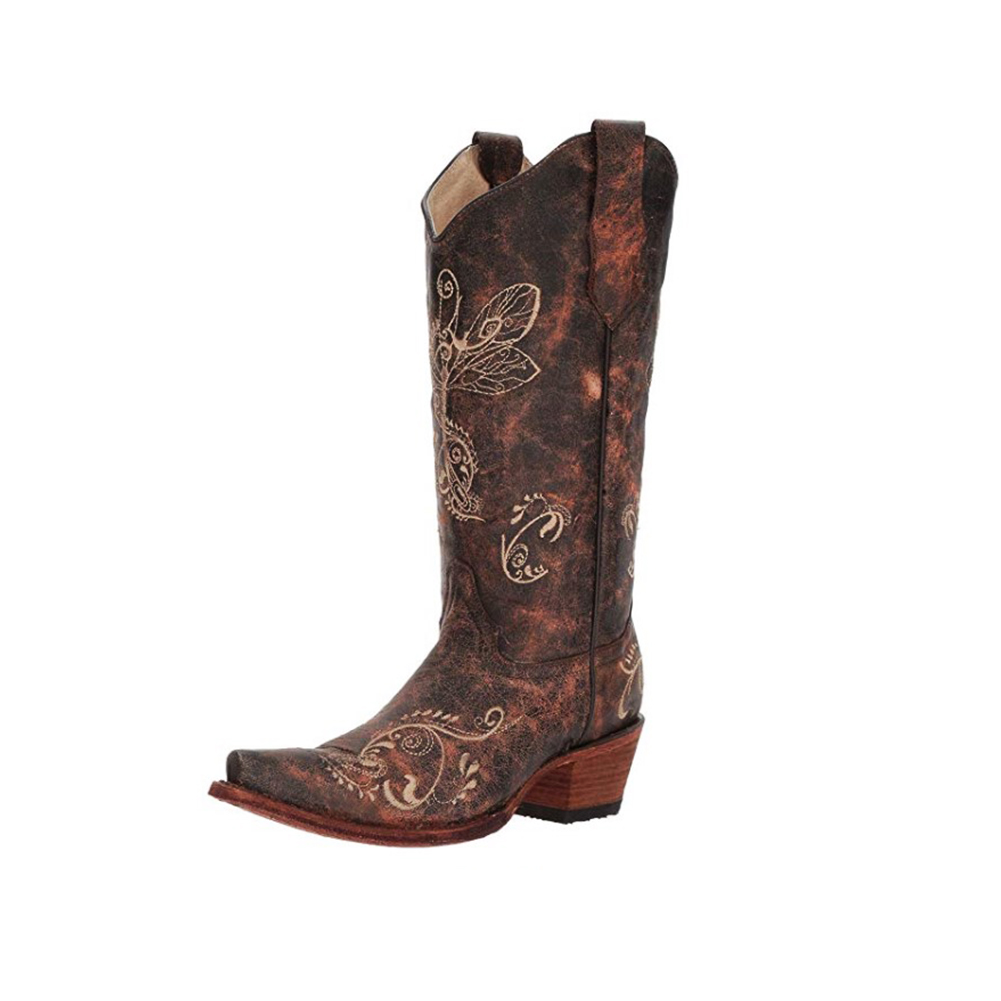 CORRAL Womens L5001 Dragonfly Embroidery Brown/Bone Boots (L5001-LD)
