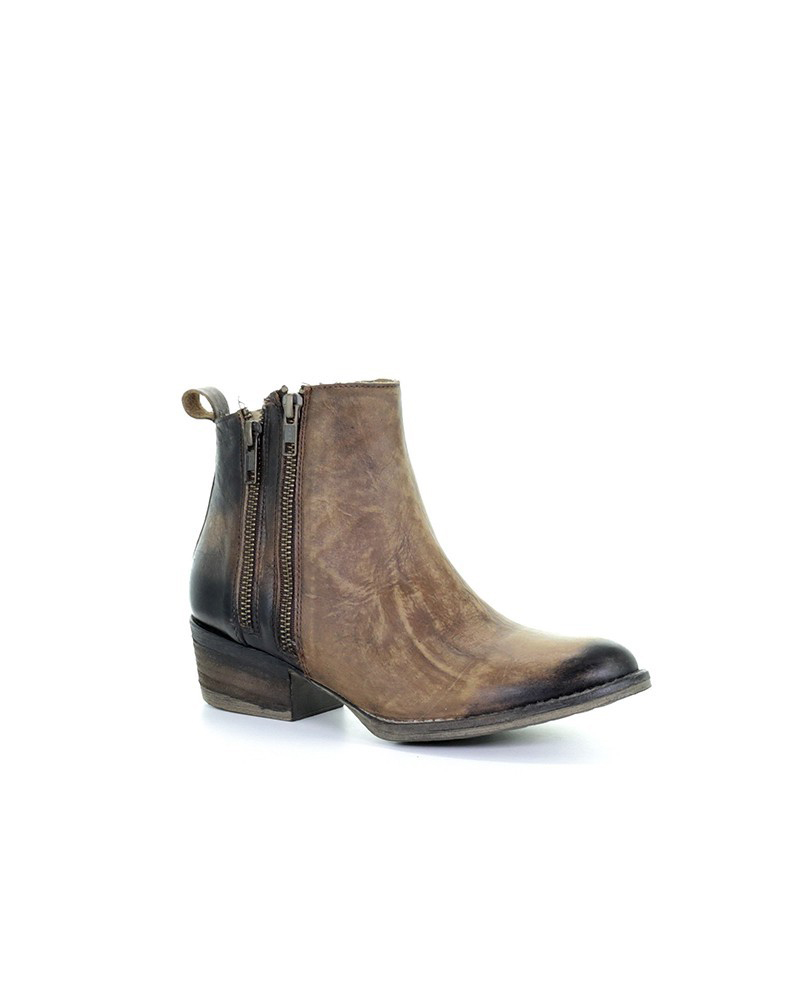 CORRAL Womens Q0025 Burnished Brown Double Zipper Boots (Q0025-LD)
