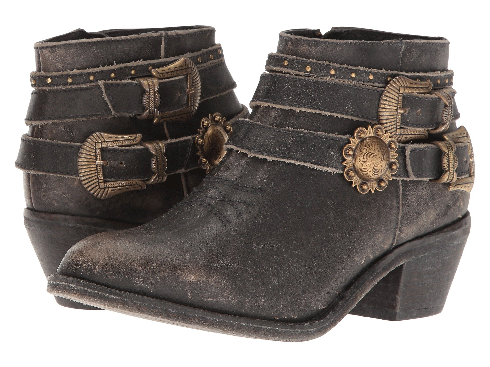 CORRAL Womens P5101 Distressed Black Multi-Straps Shortie Boots (P5101-LD)