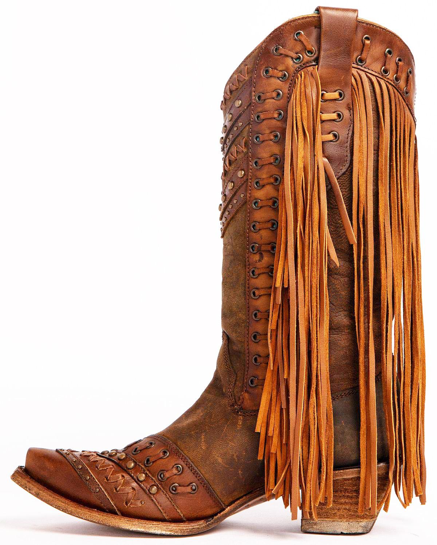 CORRAL Womens Mayela Woven and Fringe Brown/Tan Boots (C2986-LD)