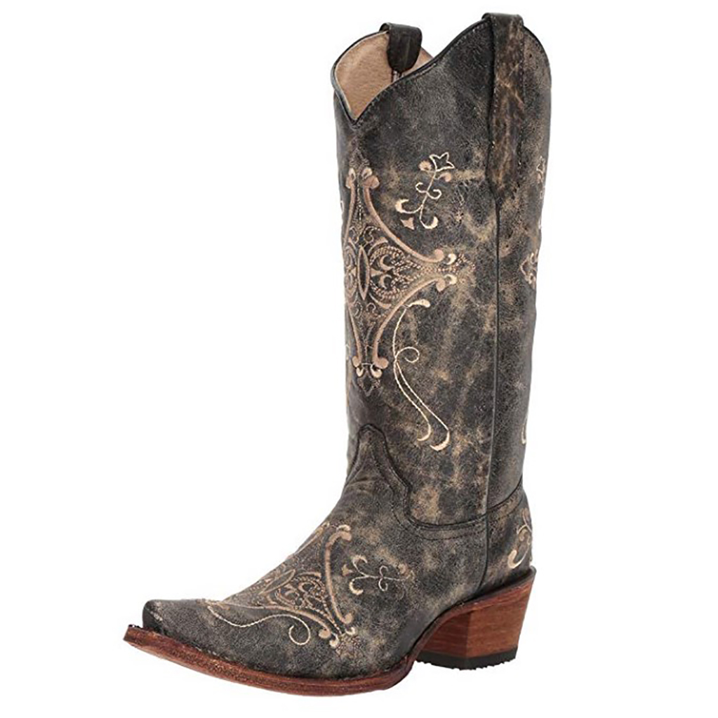 CORRAL Womens Andrea Black Crackle/Bone Embroidery Boots (L5048-LD)