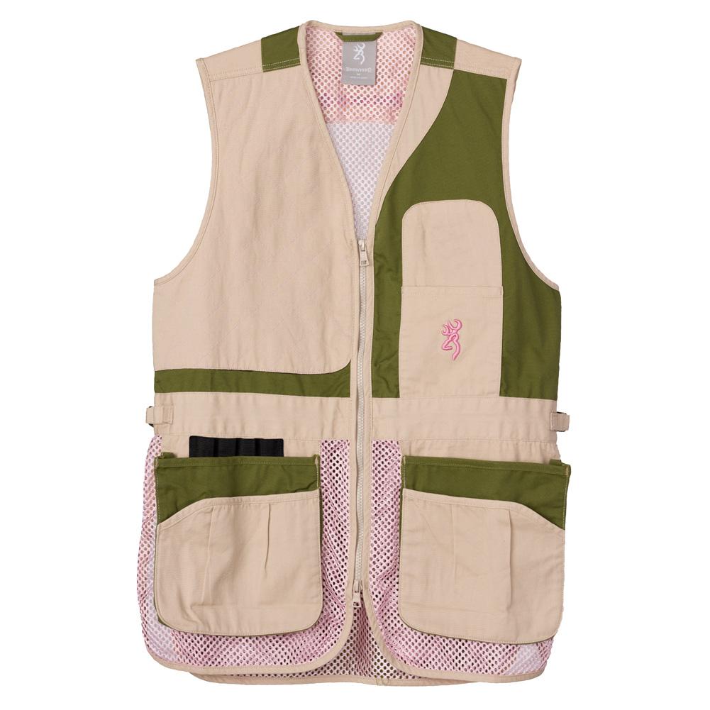 BROWNING Womens Trapper Creek Mesh Sage/Tan/Pink Shooting Vest (30506954) thumbnail