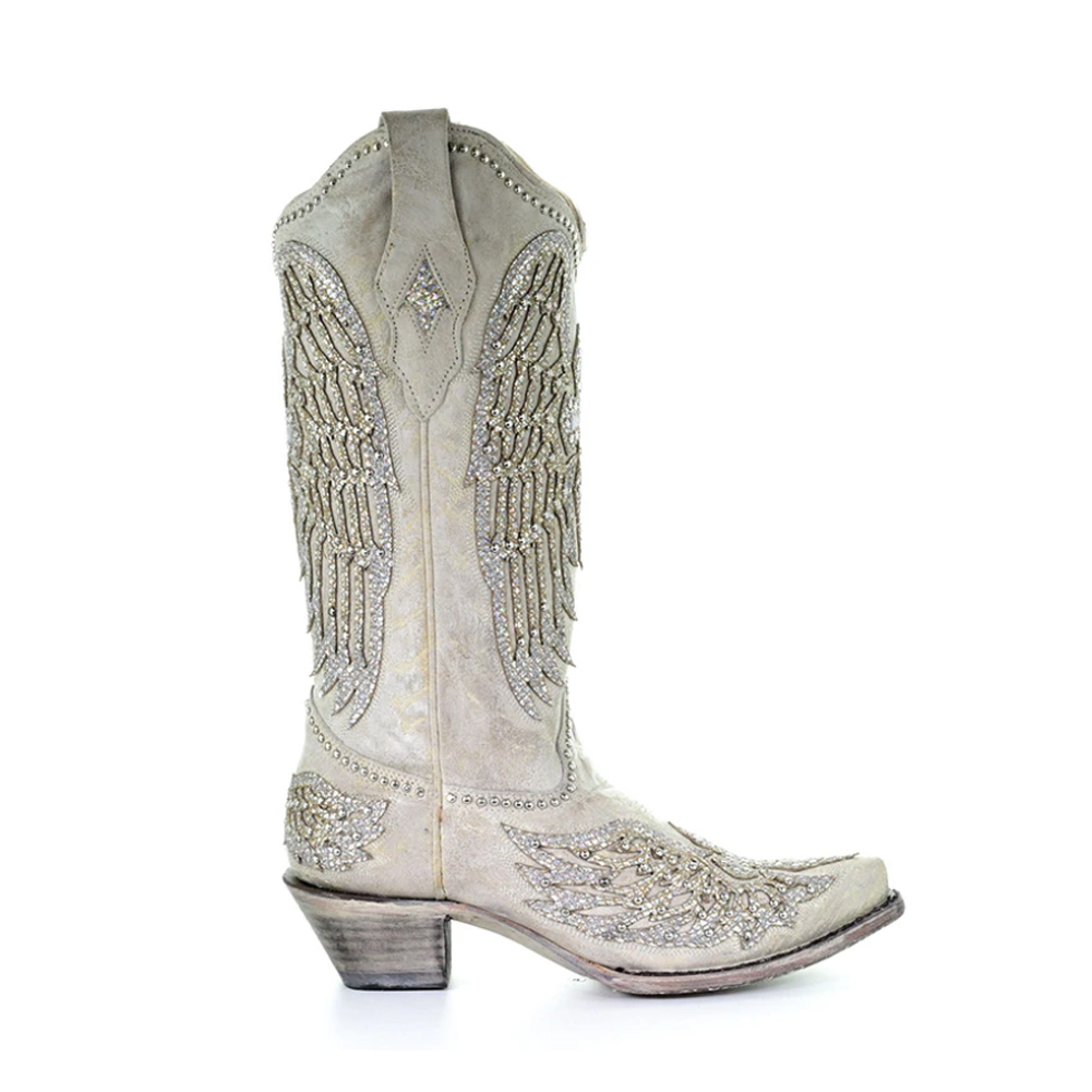 CORRAL Womens White Cross & Wings Boots (A3571-LD)