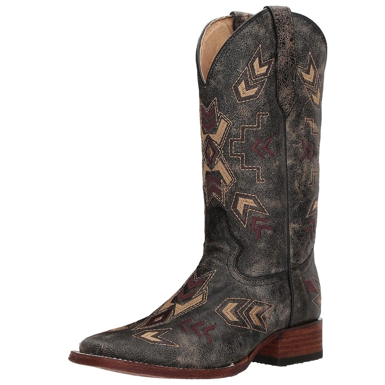CORRAL Womens Distressed Arrowhead Black/Bone Boots (L5253-LD)