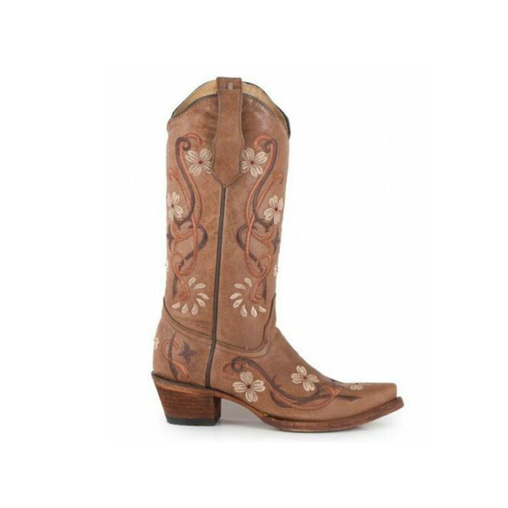 CORRAL Womens Circle G Floral Embroidery Brown Boots (L5176-LD)