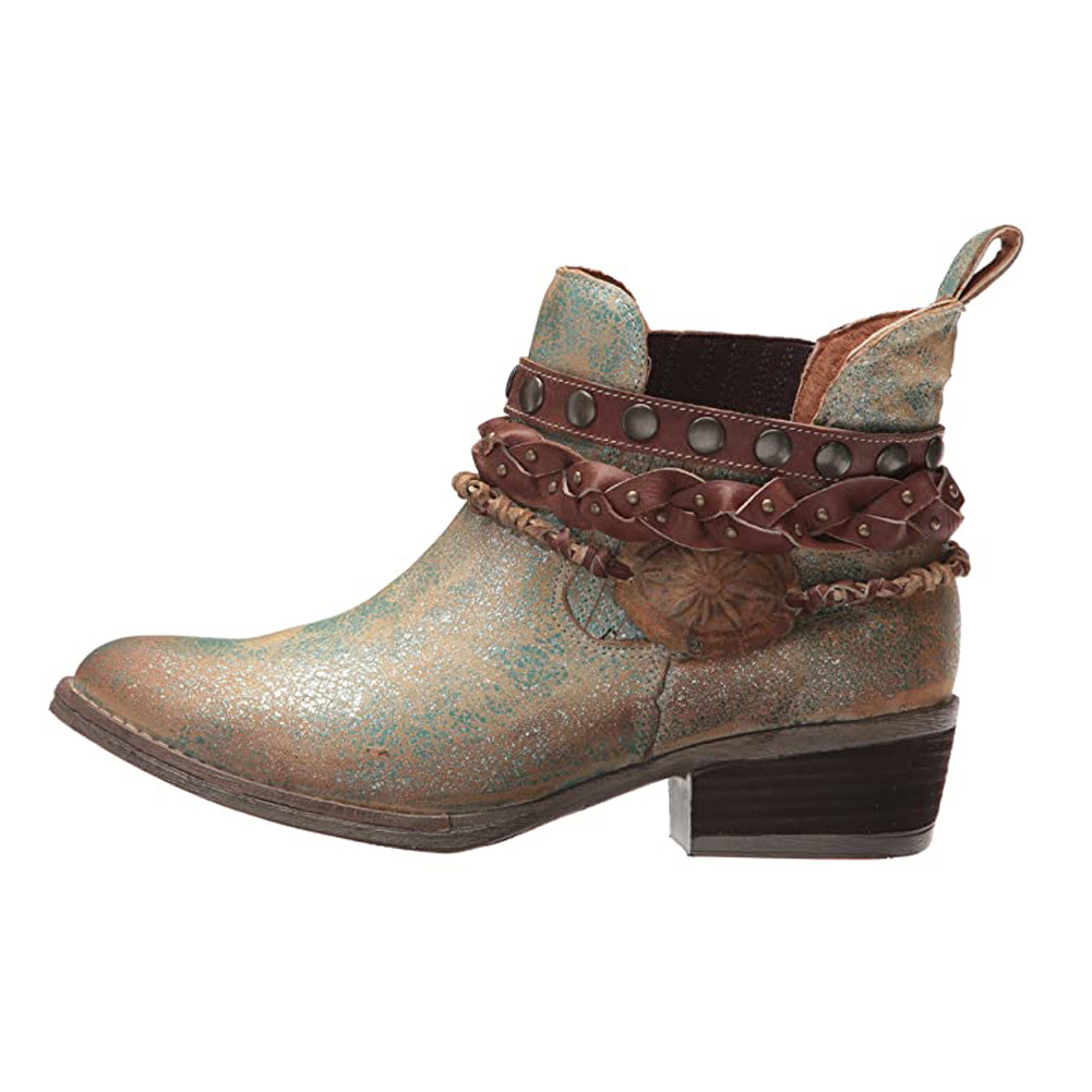 CORRAL Womens Green Harnes & Studs Round Toe Ankle Boots (Q5002-LD)
