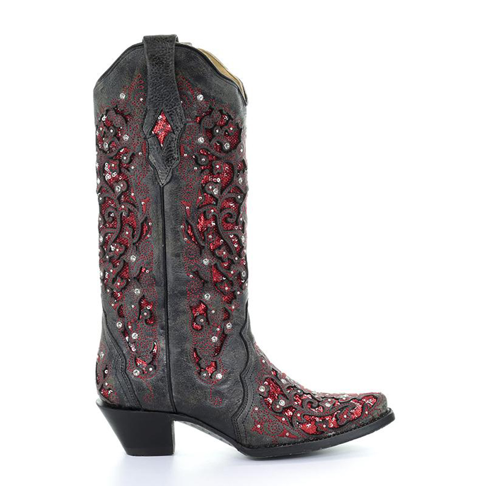 CORRAL Womens Black-Red Glitter Inlay & Crystal Boots (A3534-LD)