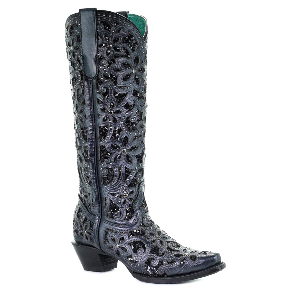 CORRAL Women's Full Inlay and Studs Tall Top Boot (A3589-LD)