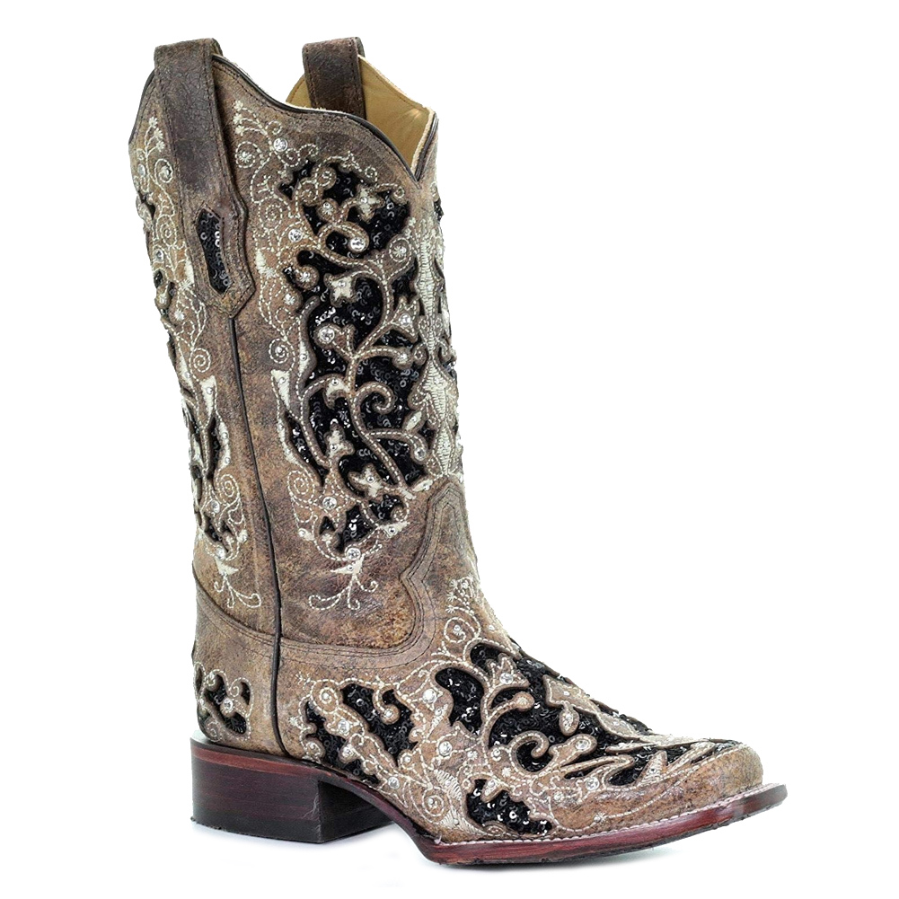 CORRAL Women's Brown Inlay and Flowered Embroidery and Studs Boot (A3648-LD)