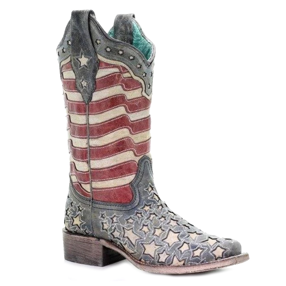 CORRAL Women's Blue Jean Stripes and Stars Inlay Glow Collection Boot (A3758-LD)