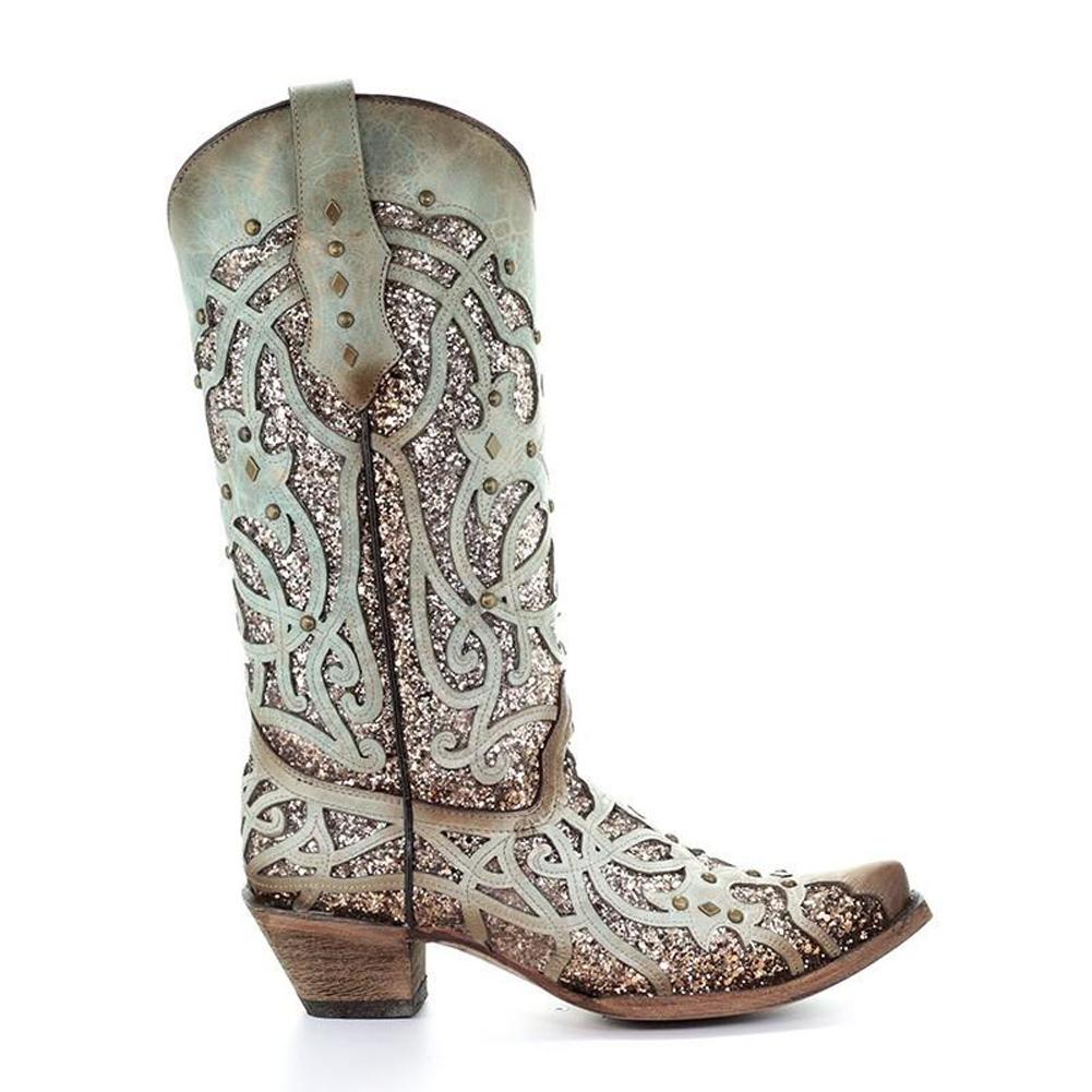 CORRAL Womens Mint Glitter Inlay & Studs Boots (C3332-LD)