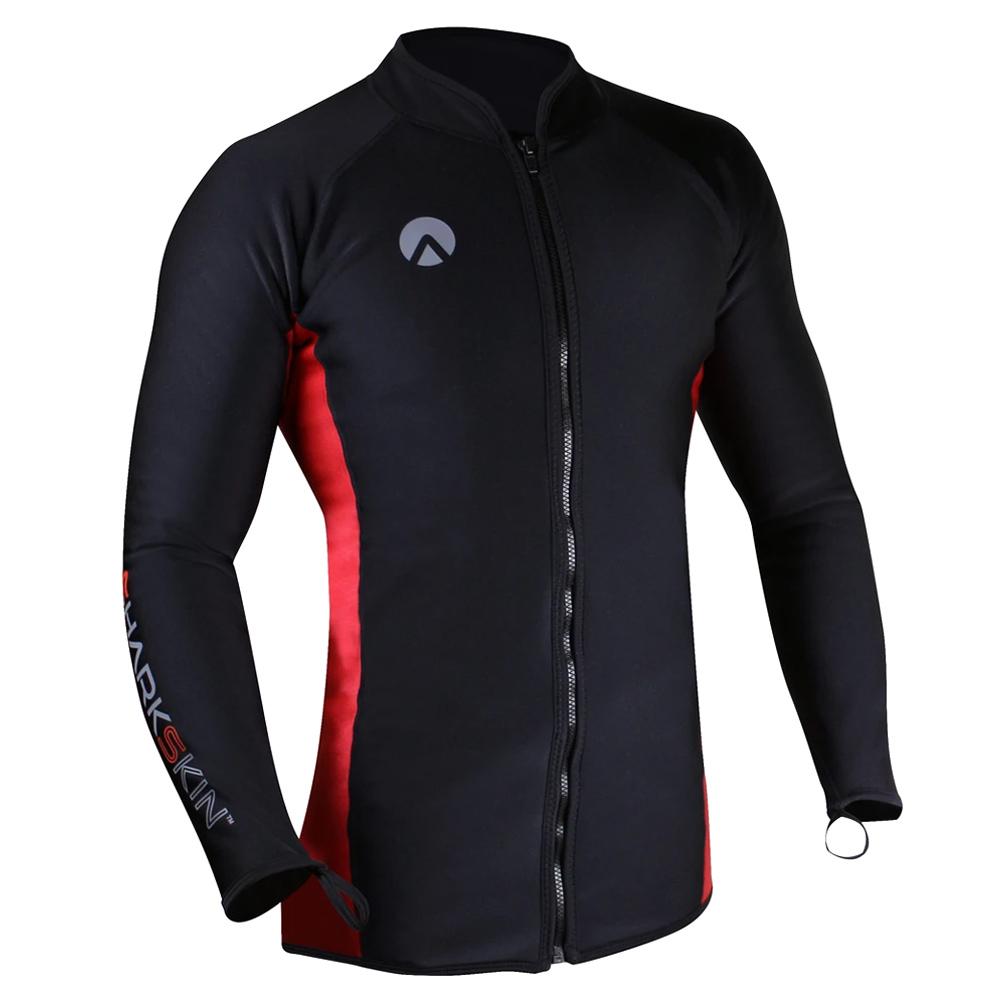 SHARKSKIN Men's Chillproof Long Sleeve Full Zip Black/Red Shirt (SSCPLSFZRD)