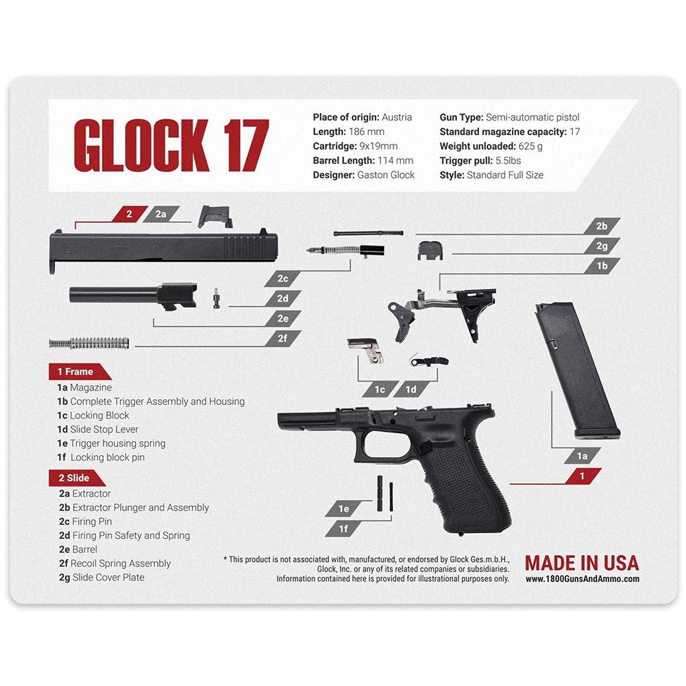 1800GunsAndAmmo Universal Gun Cleaning Mat 16x20 for Glock (MAT-GLOCK-17)