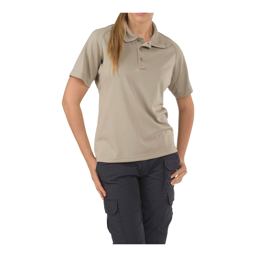 5.11 TACTICAL Womens Performance Short Sleeve Polo Silver Tan