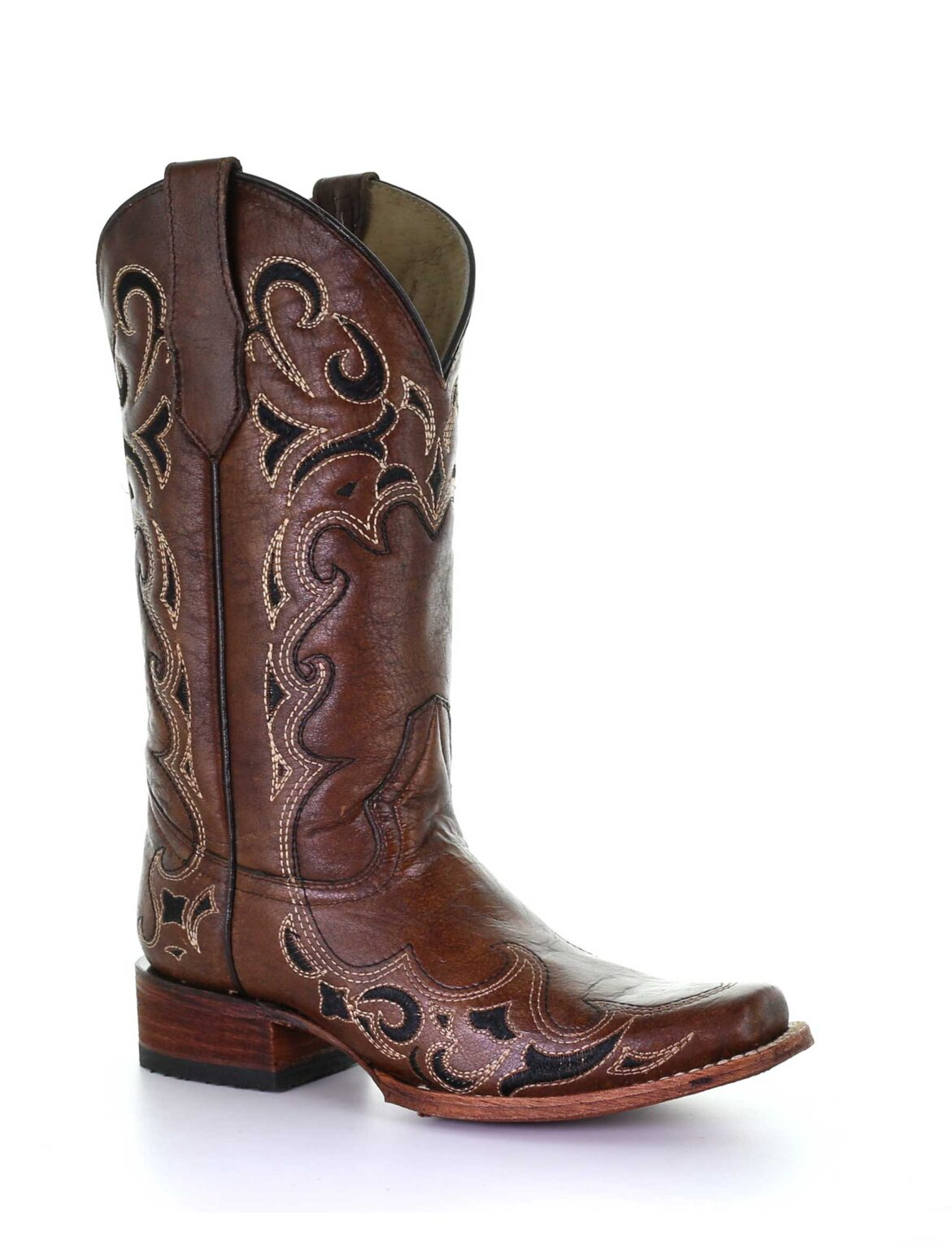 CORRAL Womens Circle G Brown/Black Embroidery Square Toe Boots (L5557-LD)