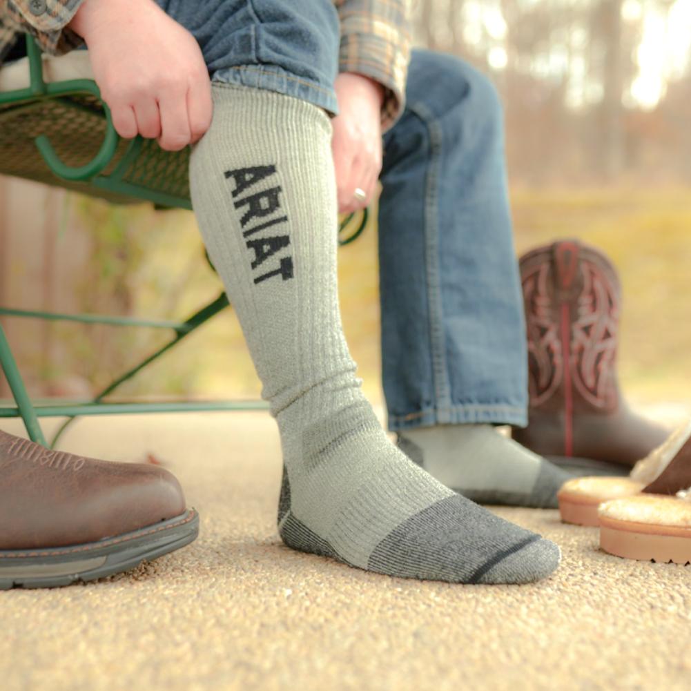 ARIAT Lightweight Merino Wool Blend Mid Calf Steel Toe 2-Pair Pack Sock (AR2309)