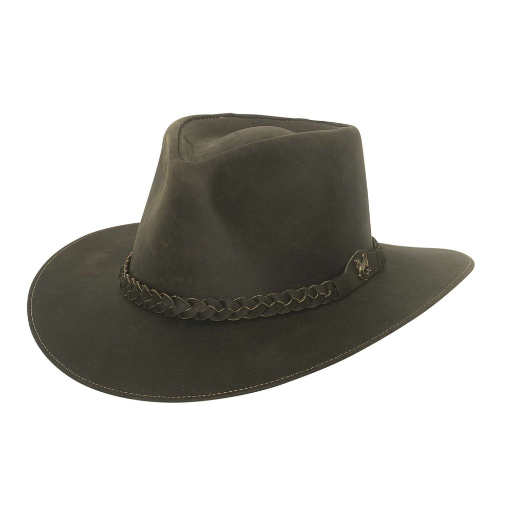 BULLHIDE Duluth Dark Brown Leather Outback Hat (4072)