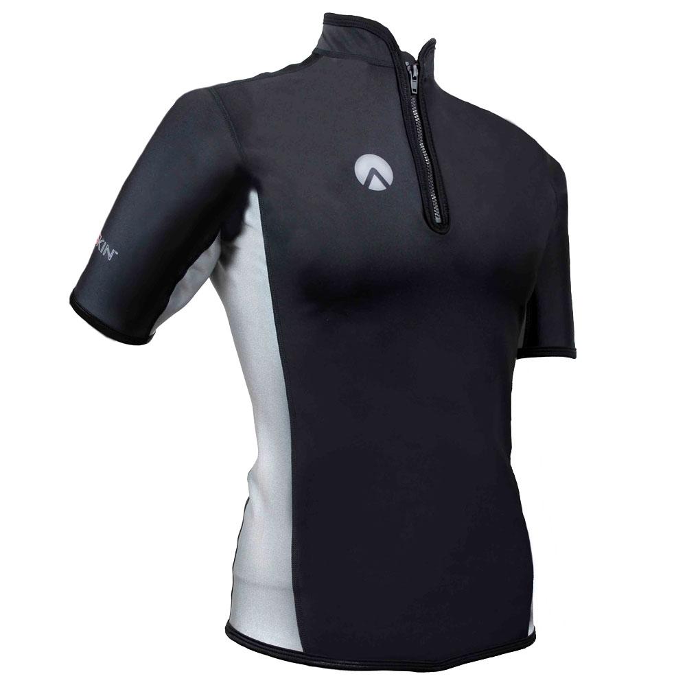 SHARKSKIN Men's Chillproof Short Sleeve Chest Zip Black/Silver Top (SSCPSSCZBK)