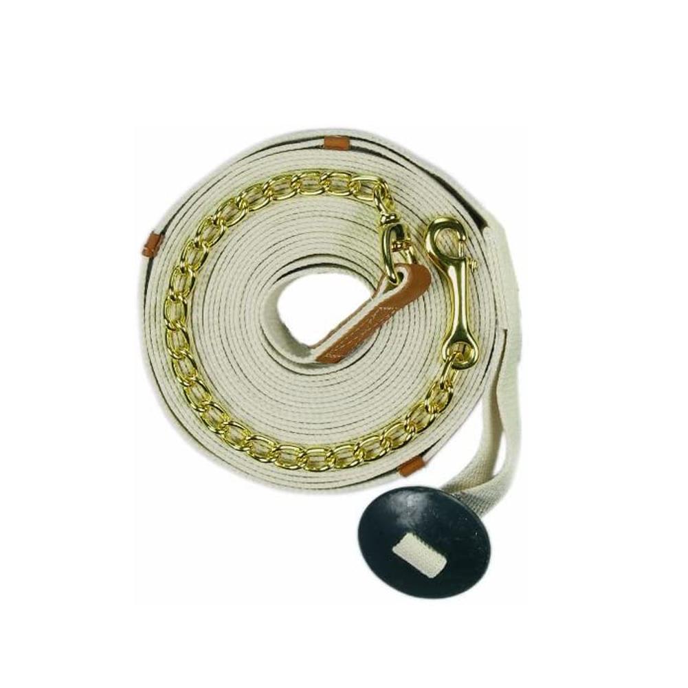 CENTAUR Cotton 35ft Web Lunge Line with Chain (402068WHT-35FT)