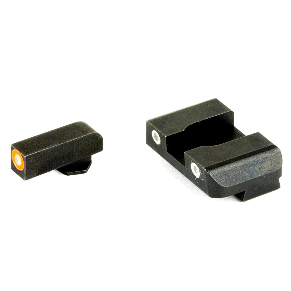 AMERIGLO Pro-Glo Green Tritium Orange Outline Front/Green Tritium White Outline Rear Night Sight Set (GL-241)